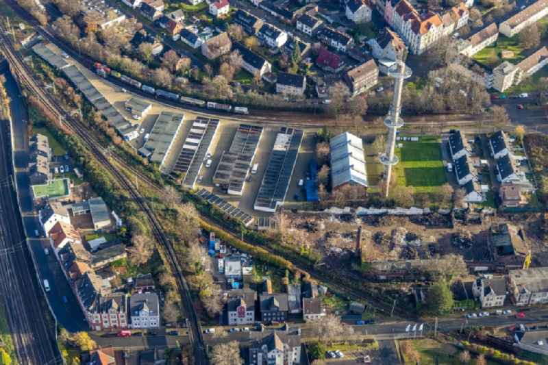 Aerial view of Mulvanystrasse garage yard and transmission mast at a demolition site in Herne-Mitte in Herne in the Ruhr area in the German state of North Rhine-Westphalia, Germany