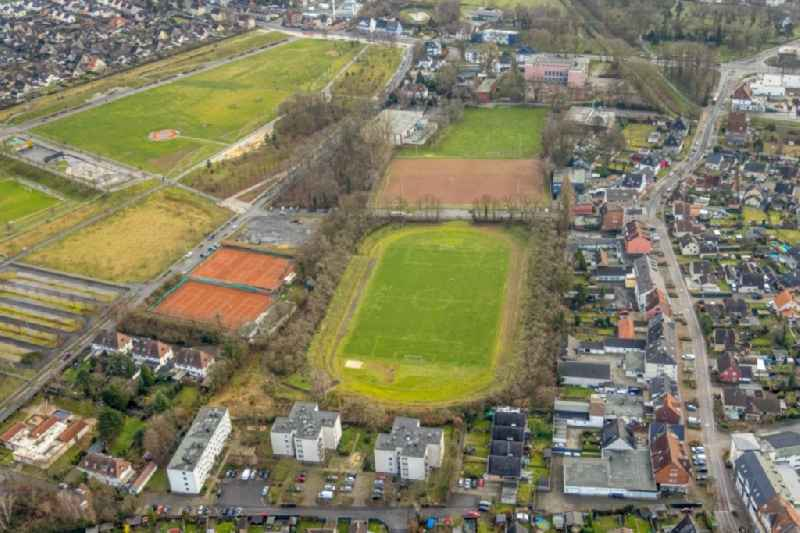 Sports grounds and football pitch and Tennisplatz in Herringen at Ruhrgebiet in the state North Rhine-Westphalia, Germany