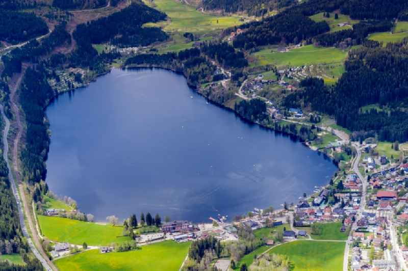 Village on the lake bank areas Titisee in Hinterzarten in the state Baden-Wuerttemberg, Germany