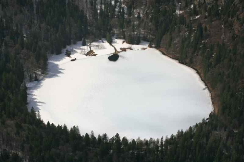 Wintry snowy and icy areas on the lake Feldsee in Feldberg (Schwarzwald) Black Forest in the state Baden-Wuerttemberg