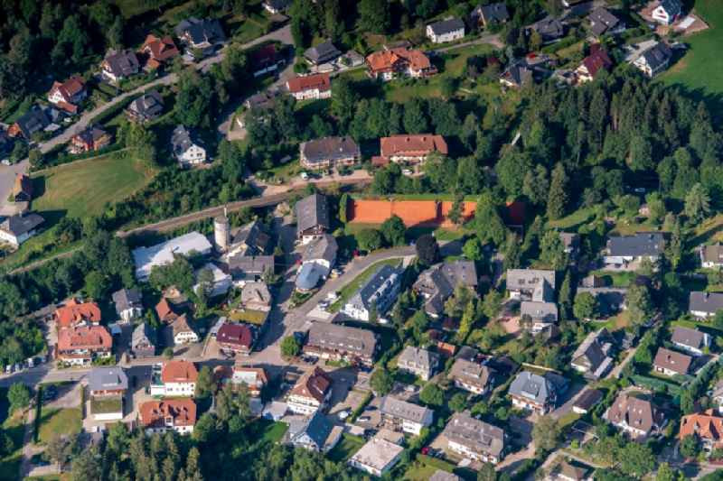 Town View of the streets and houses of the residential areas in Hinterzarten in the state Baden-Wurttemberg, Germany