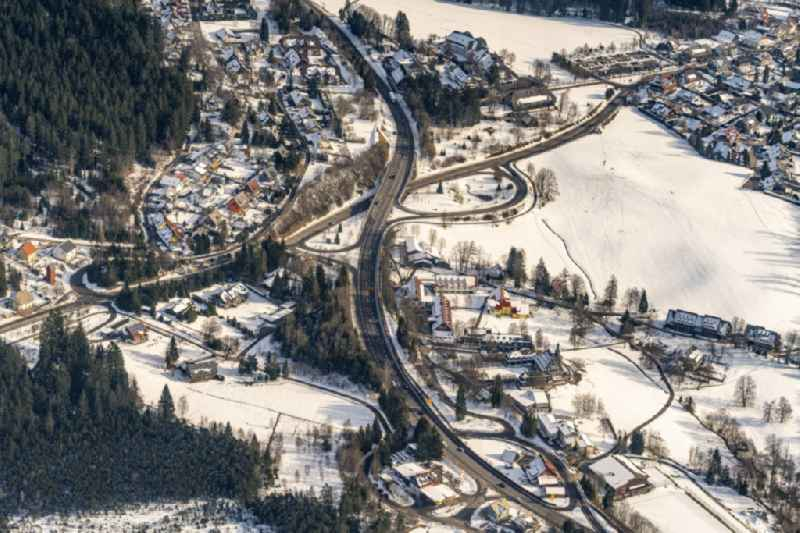 Road over the crossroads B31 / B500 in Hinterzarten in the state Baden-Wurttemberg, Germany