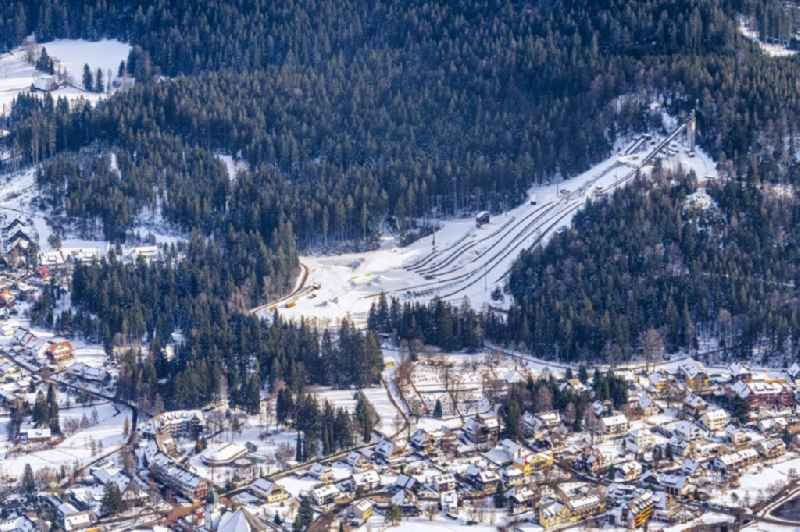 Wintry snowy training and competitive sports center of the ski jump Adler Schanze in Hinterzarten in the state Baden-Wurttemberg, Germany