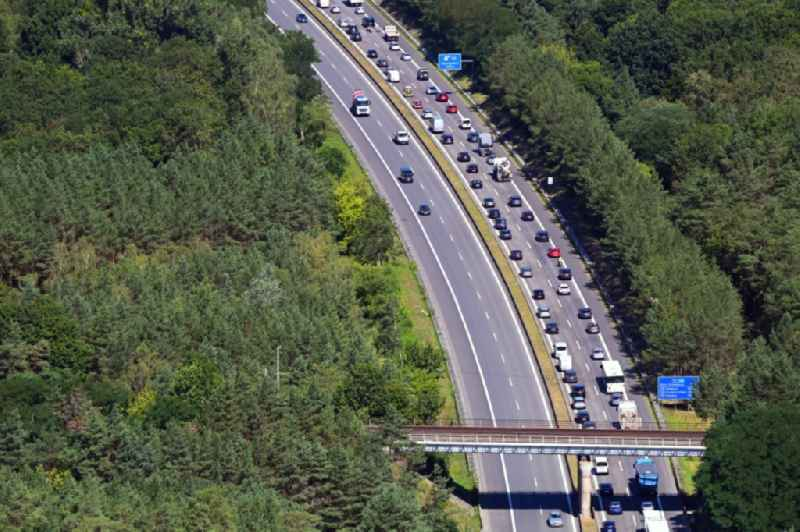 Highway congestion along the route of the lanes BAB A111 in Hohenschoepping in the state Brandenburg, Germany