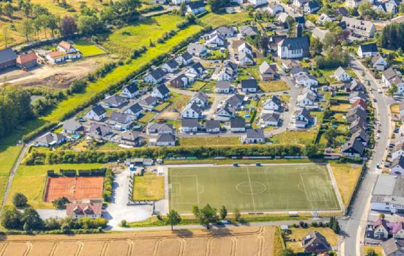 Town View of the streets and houses of the residential areas in Holzen in the state North Rhine-Westphalia, Germany