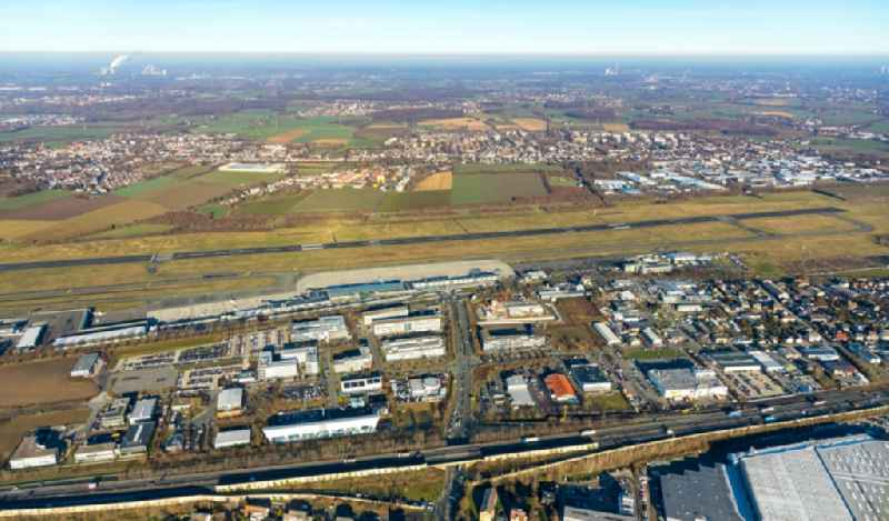 Industrial estate and company settlement overlooking the airport in the district Brackel in Holzwickede in the state North Rhine-Westphalia, Germany. Further information at: Flughafen Dortmund GmbH.