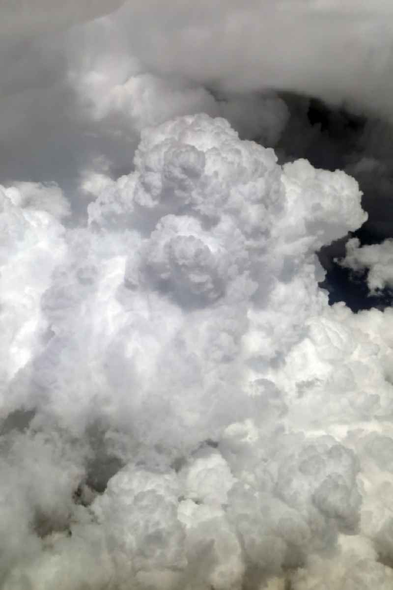 Weather conditions with cloud formation and thunderstorm around Hoopstad in Free State, South Africa.