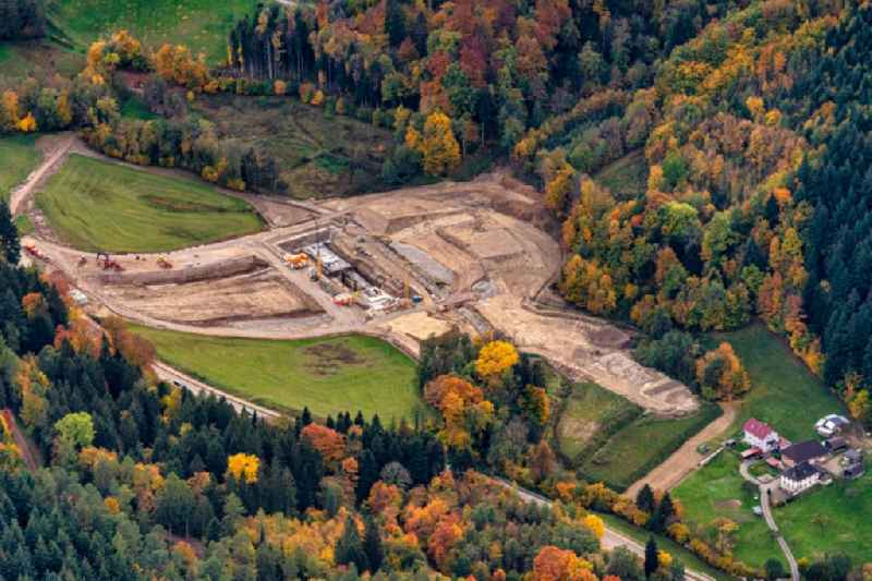 Construction site for the new construction of the retention basin and water storage Bohrertal Guenterstal in Horben in the state Baden-Wuerttemberg, Germany