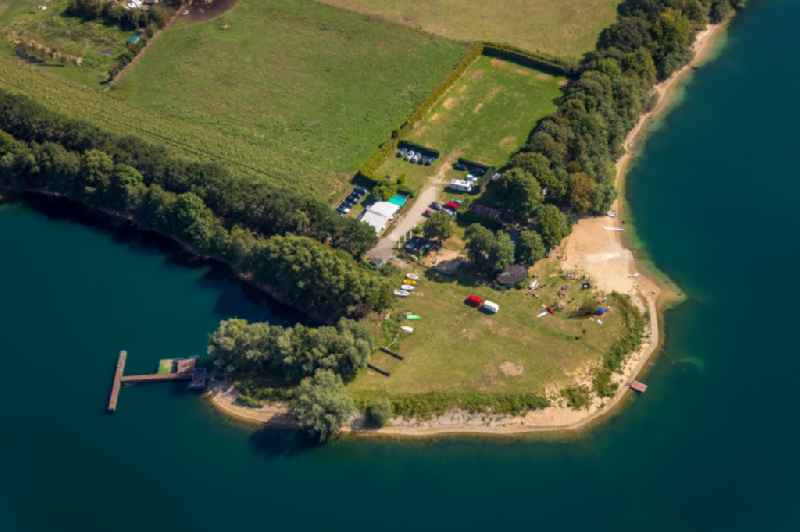 Sandy beach areas on the beim Tenderingssee in Huenxe in the state North Rhine-Westphalia, Germany.