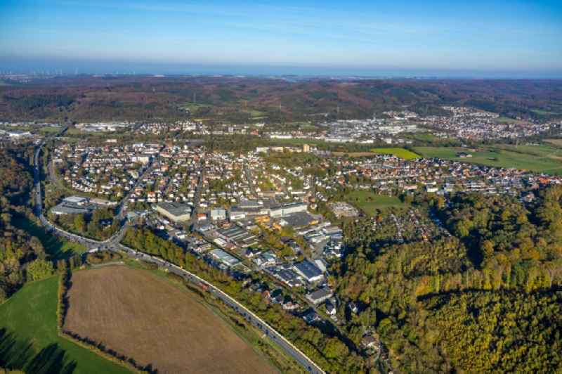 Town View of the streets and houses of the residential areas in Huesten in the state North Rhine-Westphalia, Germany.