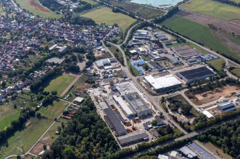 Industrial estate and company settlement In of Kuhweid with SAB Trade & Services GmbH, Frank and Waldenberger GmbH, airwasol and Ledo Plus in Huttenheim in the state Baden-Wuerttemberg, Germany