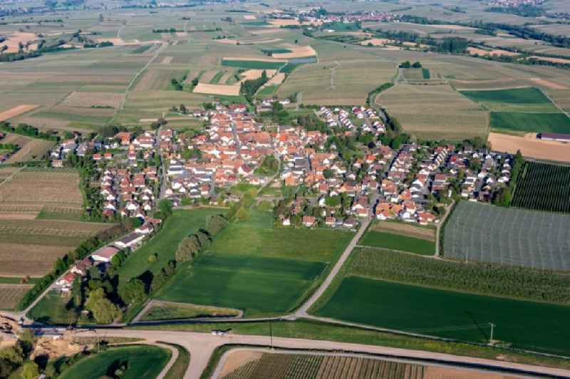 Village - view on the edge of agricultural fields and farmland in Impflingen in the state Rhineland-Palatinate, Germany