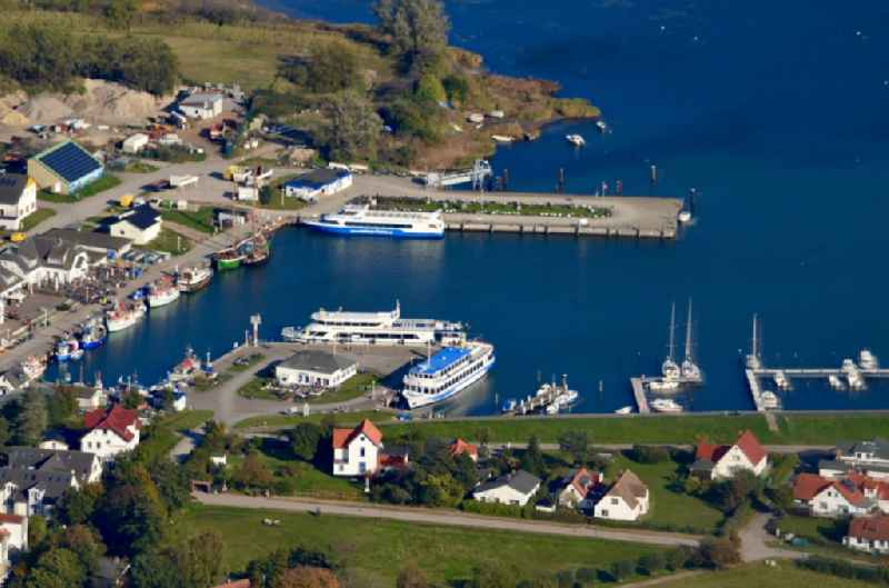 Port facilities on the seashore of the baltic Sea on the island Hiddensee in the state Mecklenburg - Western Pomerania