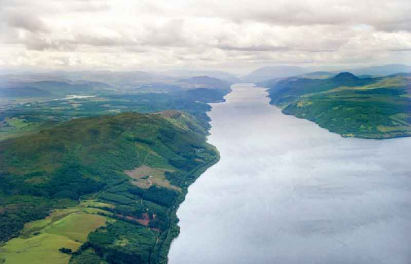 The lake Loch Ness near Inverness in the Highlands / Highlands of Scotland is part of the Great Glen chain of lakes in United Kindom.