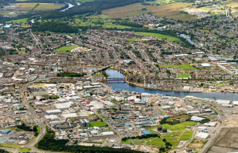 View of the river Ness in Inverness in the district of Highland in Scotland.