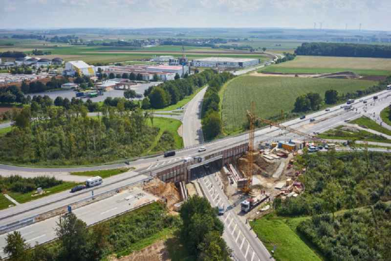 Construction site for the new building of Routing and traffic lanes over the highway bridge in the motorway A in Ippesheim in the state Bavaria, Germany