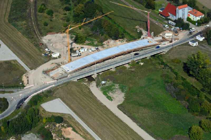 New construction of the bridge structure ' Flutbruecke ' in the district Rossdorf in Jessnitz (Anhalt) in the state Saxony-Anhalt, Germany