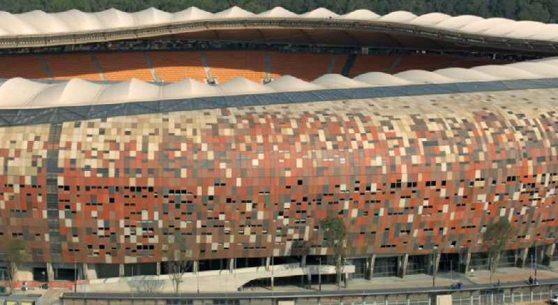 Sports facility grounds of the Arena stadium FNB Stadium/Soccer on City Soccer City Ave in the district Nasrec in Johannesburg South in Gauteng, South Africa.