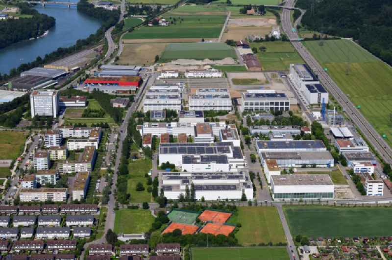 Industrial and commercial area of DSM Nutritional Products and F. Hoffmann-La Roche in Kaiseraugst in the canton Aargau, Switzerland.