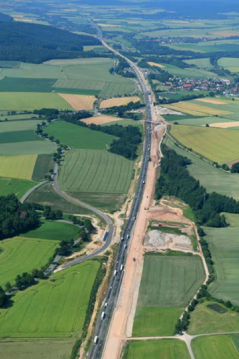 Highway construction site for the expansion and extension of track along the route of A7 in Kalefeld in the state Lower Saxony, Germany.