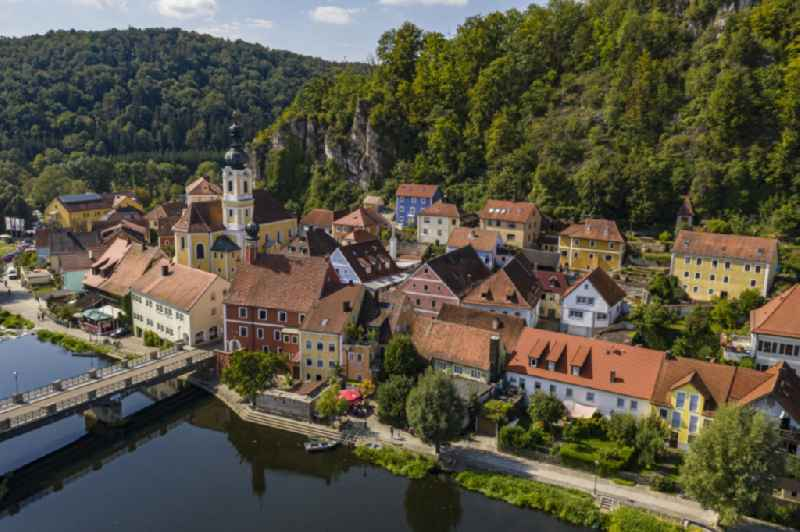 City view on the river bank of Naab in Kallmuenz in the state Bavaria, Germany