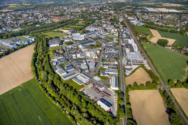 Industrial and commercial area along the Westicker Strasse on Hemsack in the district Westick in Kamen in the state North Rhine-Westphalia, Germany