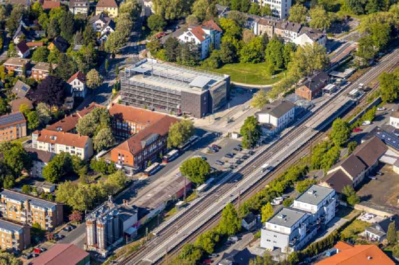 Station building and track systems of the S-Bahn station Kamen with parking garage in Kamen in the state North Rhine-Westphalia, Germany