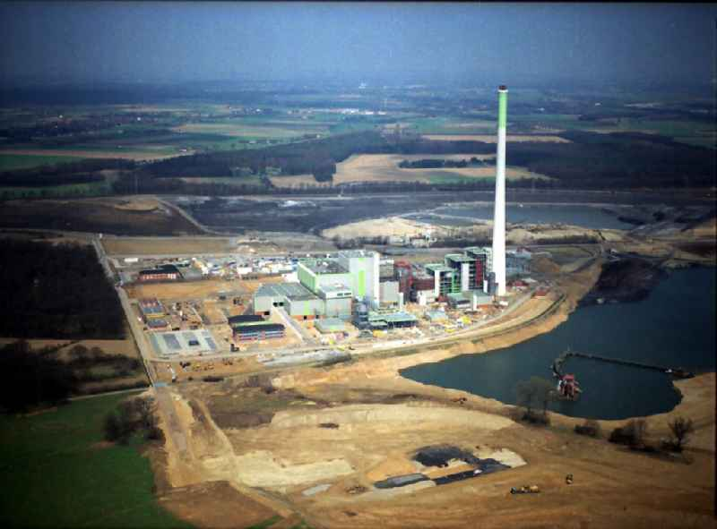 Power plants and exhaust towers of Waste incineration plant station Abfallentsorgungszentrum Asdonkshof Graftstrasse in Kamp-Lintfort in the state North Rhine-Westphalia, Germany. Further information at: Kreis Weseler Abfallgesellschaft mbH & Co. KG.