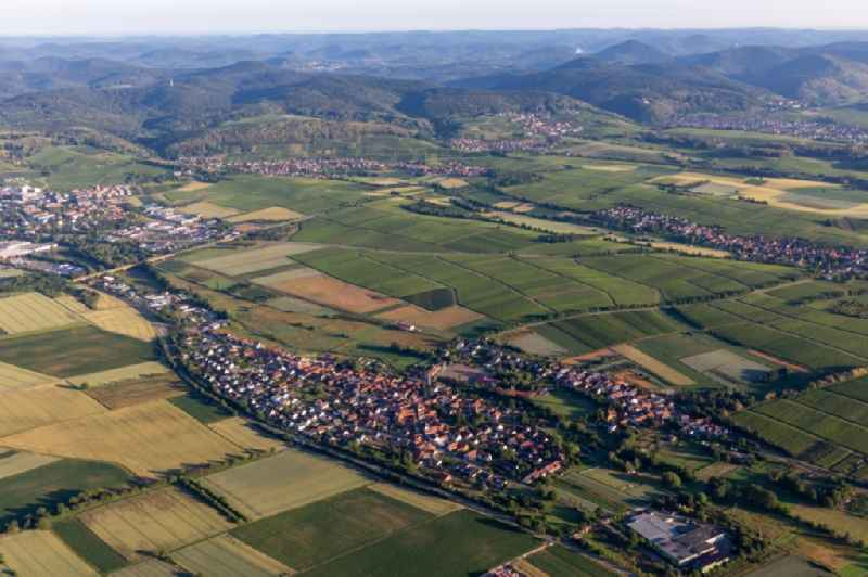 Village - view on the edge of agricultural fields and farmland in Kapellen-Drusweiler in the state Rhineland-Palatinate, Germany