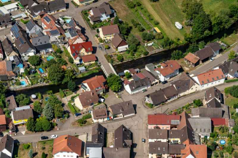 Village on the river bank areas of Elz on Nordend Bruecke in Kappel-Grafenhausen in the state Baden-Wuerttemberg, Germany