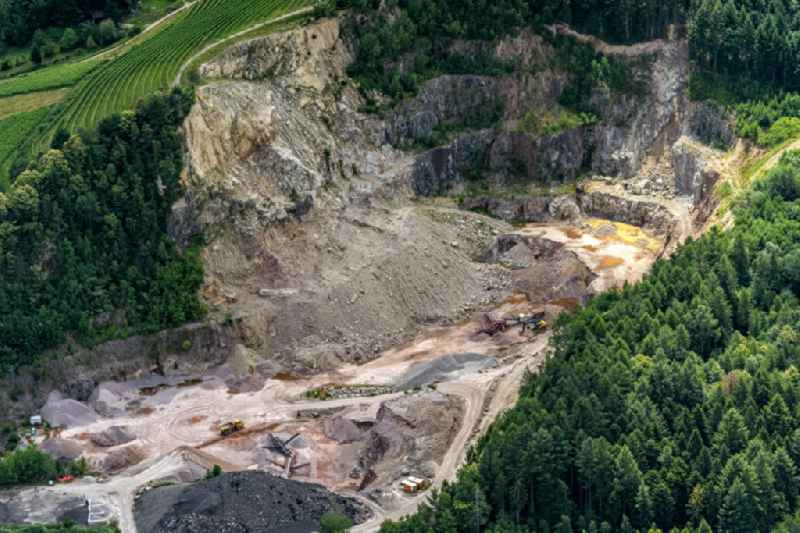 Quarry for the mining and handling of Stein and DGeroell ofOSSOLA GmbH in Kappelrodeck in the state Baden-Wuerttemberg, Germany