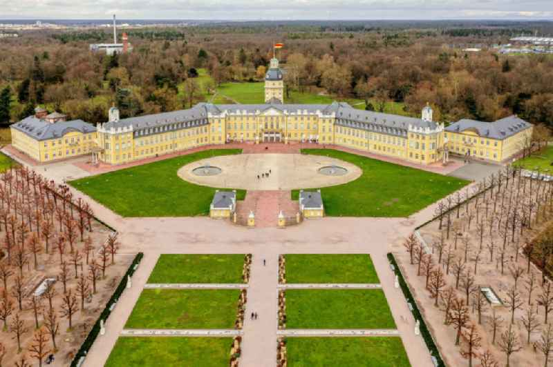 Grounds and park at the castle of Karlsruhe in Baden-Wuerttemberg.