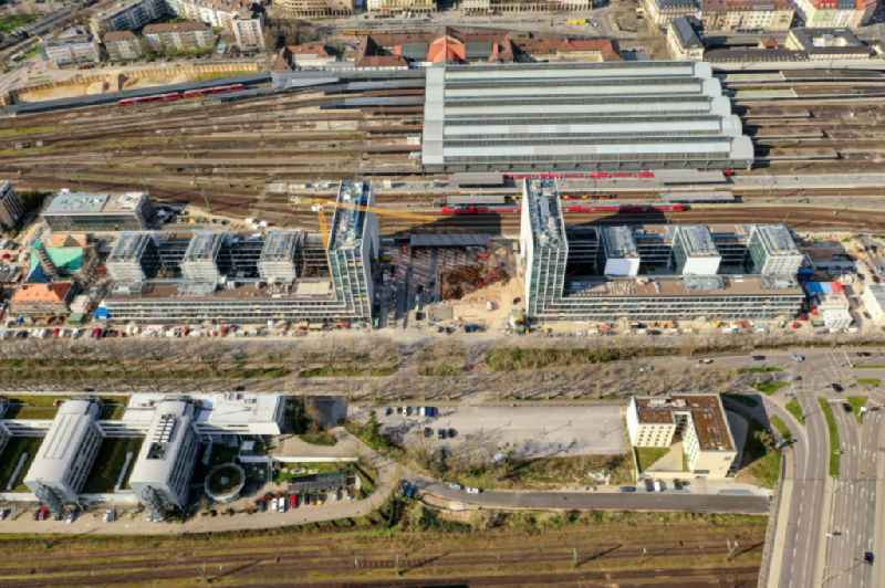 Construction site to build a new office and commercial building on Schwarzwaldstrasse in Karlsruhe in the state Baden-Wurttemberg, Germany