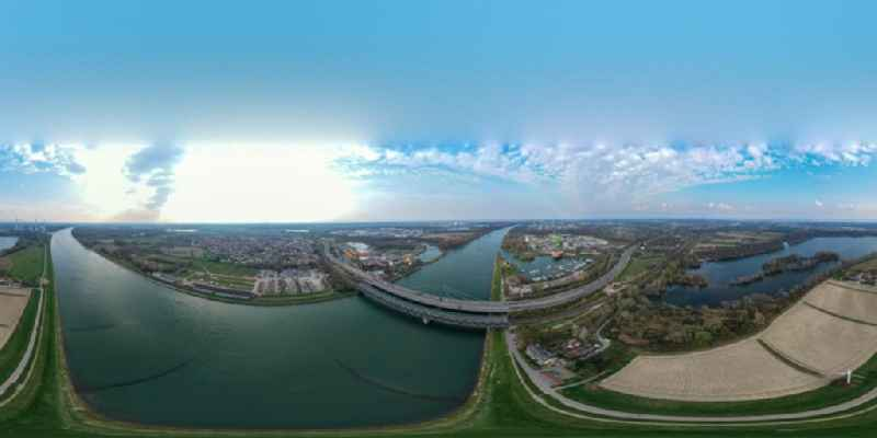 Circumferential , horizontally adjustable 360 degree perspective river - bridges construction crossing the Rhine river near Maxau in the district Knielingen in Karlsruhe in the state Baden-Wurttemberg, Germany
