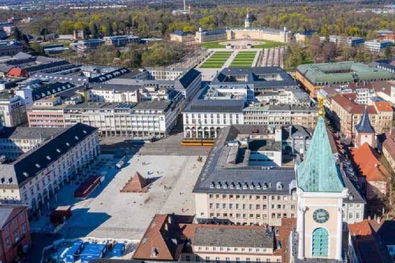 Inner city area with castle garden and castle on Karl-Friedrich-Strasse in Karlsruhe in the state Baden-Wurttemberg, Germany
