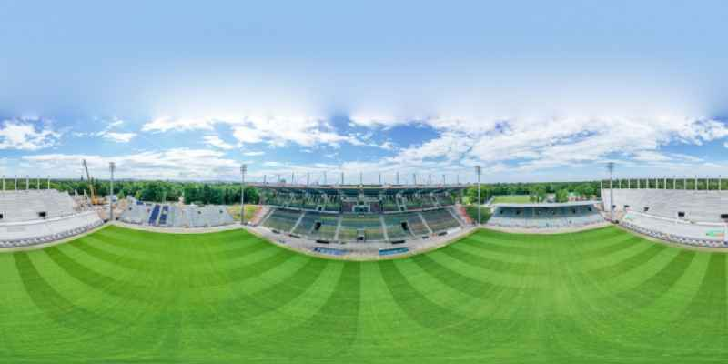 Circumferential , horizontally adjustable 360 degree perspective extension and conversion site on the sports ground of the stadium ' Wildparkstadion ' in Karlsruhe in the state Baden-Wurttemberg, Germany