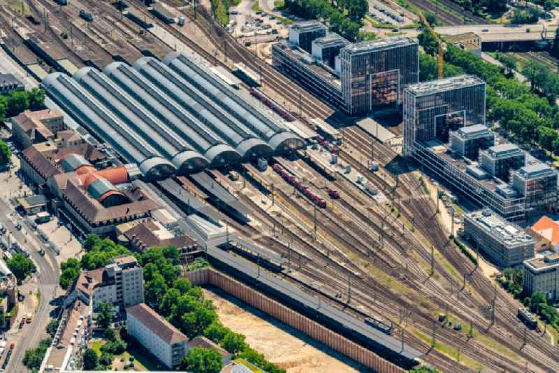 Track progress and building of the main station of the railway in the district Suedweststadt in Karlsruhe in the state Baden-Wurttemberg, Germany