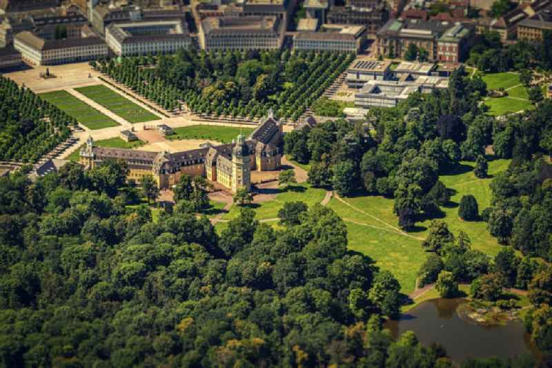 Building complex in the park of the castle Karlsruhe in Karlsruhe in the state Baden-Wurttemberg, Germany