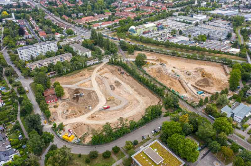 Construction site to build a new multi-family residential complex on August-Dosenbach-Strasse (August-Klingler-Areal) in the district Daxlanden in Karlsruhe in the state Baden-Wuerttemberg, Germany