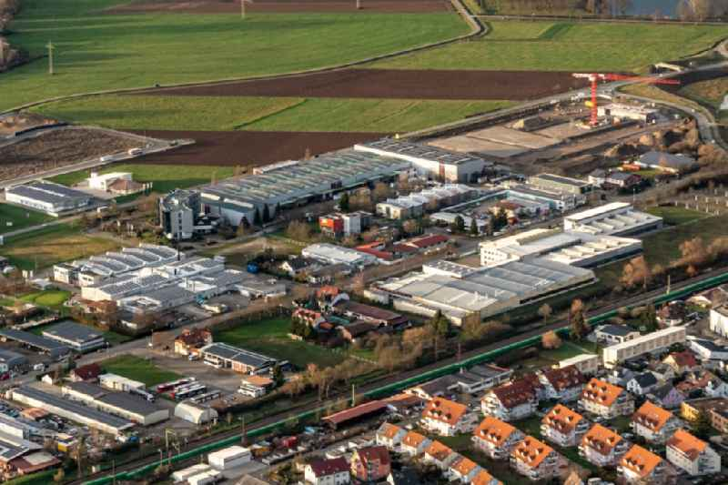 Industrial estate and company settlement in Kenzingen in the state Baden-Wurttemberg, Germany.