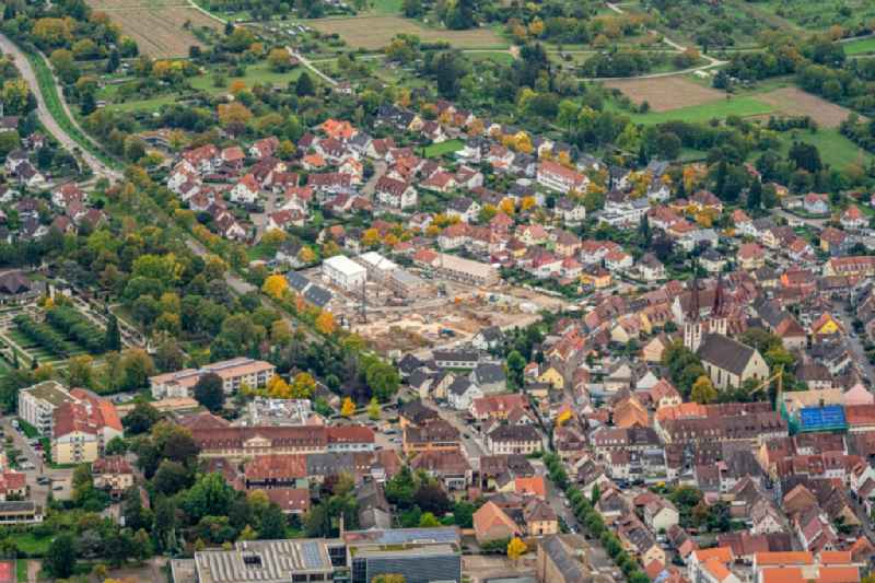 The city center in the downtown area in Kenzingen in the state Baden-Wurttemberg, Germany