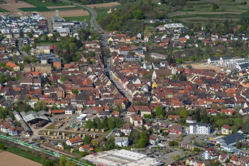 Old Town area and city center in Kenzingen in the state Baden-Wurttemberg, Germany