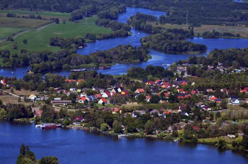 Outskirts residential An der Havel on the river course of the Havel in Ketzin in the state Brandenburg, Germany