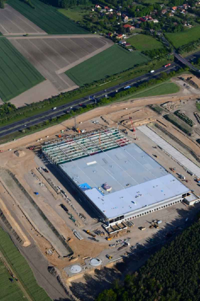 Construction site for the construction of a logistics center of the Internet retailer Amazon in Kiekebusch in the state of Brandenburg, Germany. Further information at: Amazon Europe Core S.a r.l..