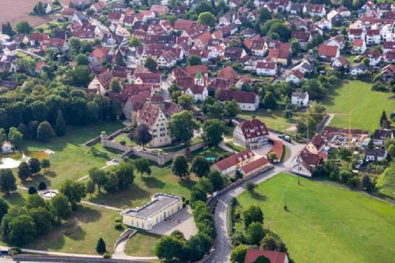 Town View of the streets and houses of the residential areas in Kilchberg in the state Baden-Wuerttemberg, Germany