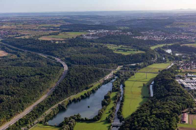 River - bridge construction crossing the Neckar valley and a lake in Kirchentellinsfurt in the state Baden-Wuerttemberg, Germany