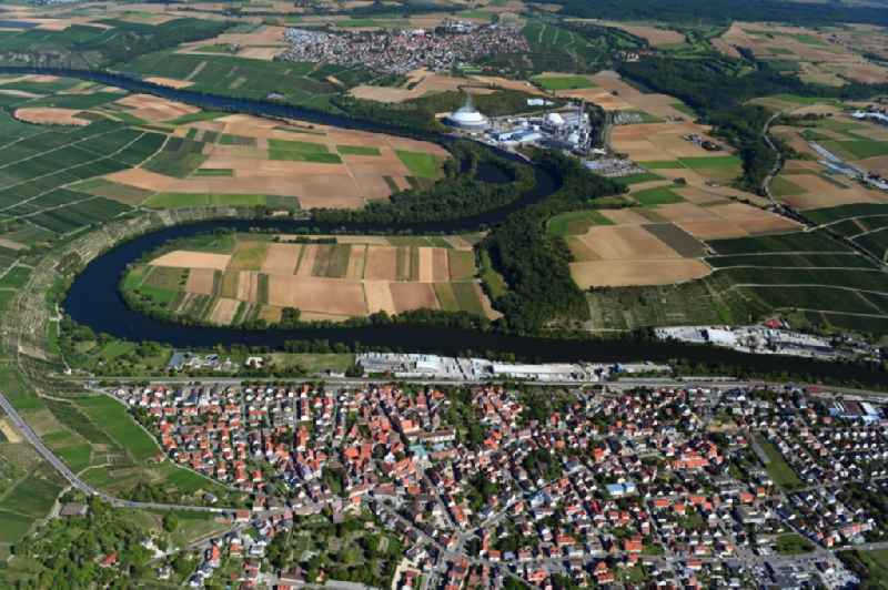 Curved loop of the riparian zones on the course of the river Neckar - in Kirchheim am Neckar in the state Baden-Wuerttemberg, Germany