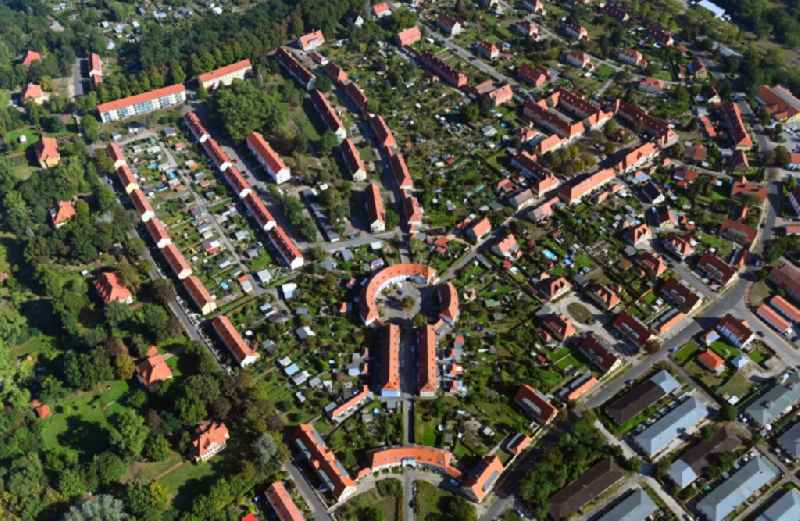 Town View of the streets and houses of the residential areas in Kirchmoeser in the state Brandenburg, Germany