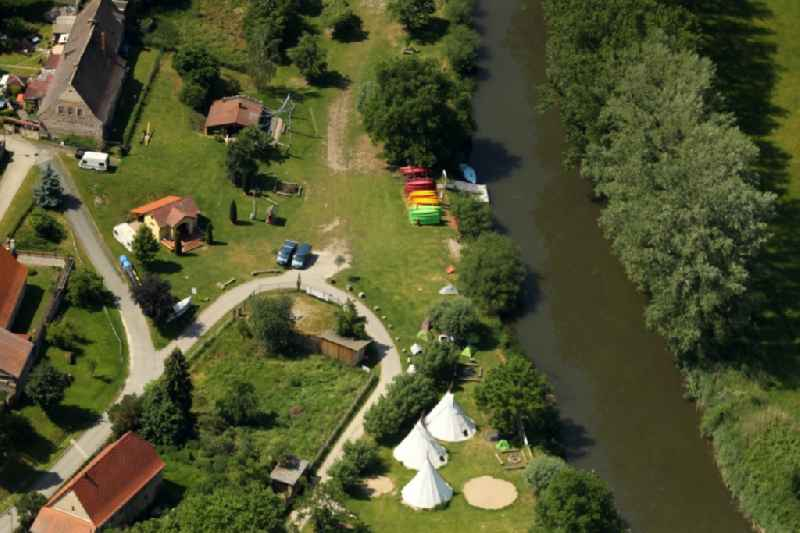 Camping with caravans and tents in Kirchscheidungen in the state Saxony-Anhalt, Germany.