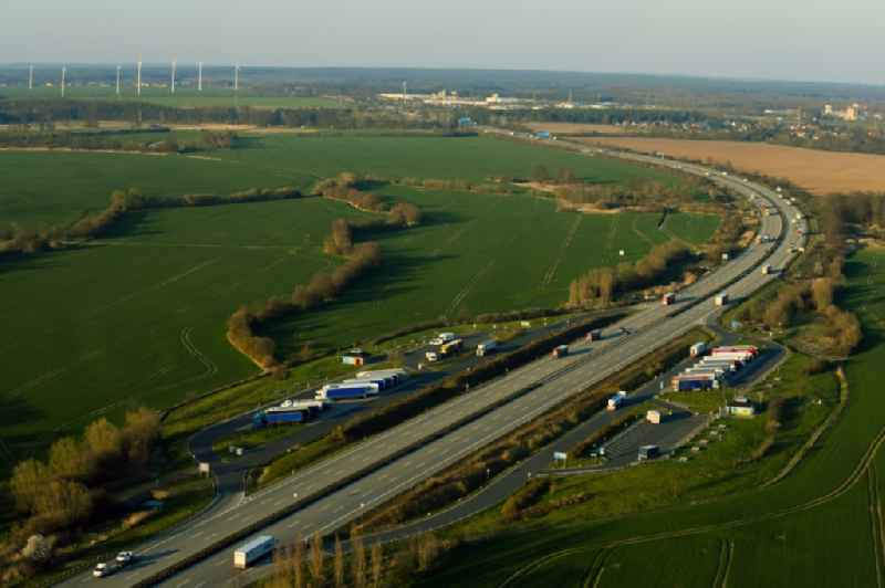 Routing and traffic lanes during the motorway service station and parking lot of the BAB A 9 'Parkplatz Kliekener Aue Ost' in Klieken in the state Saxony-Anhalt, Germany